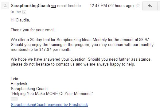 Scrapbooking Ideas Monthly reply